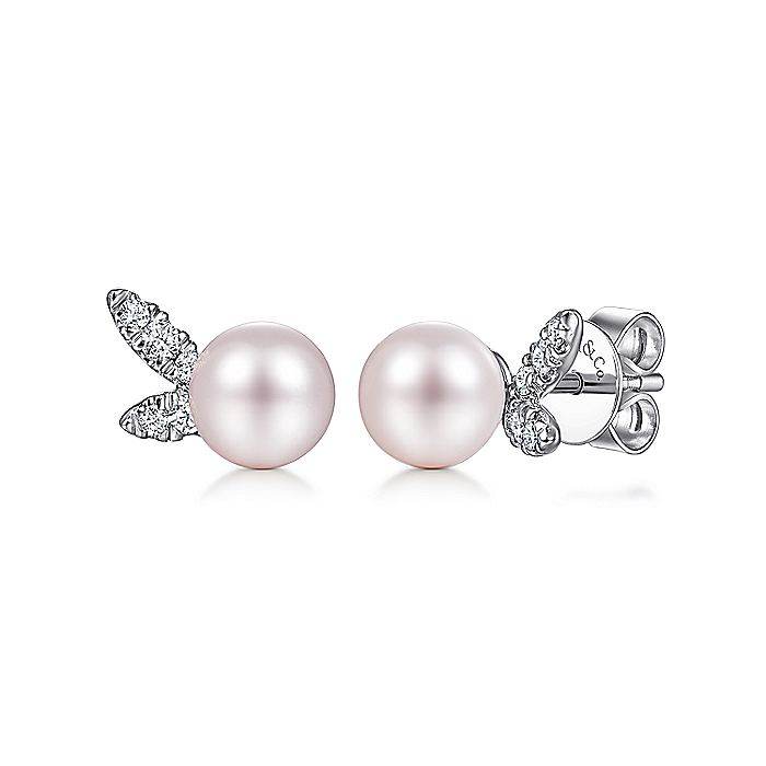 14K White Gold Pearl with Diamond Accents Stud Earrings