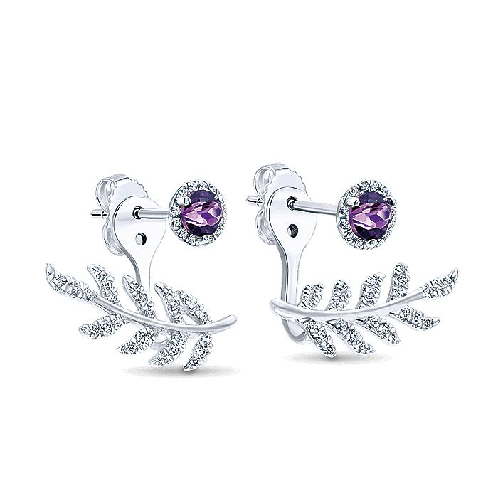 14K White Gold Peek A Boo Amethyst and Diamond Laurel Branch Earrings