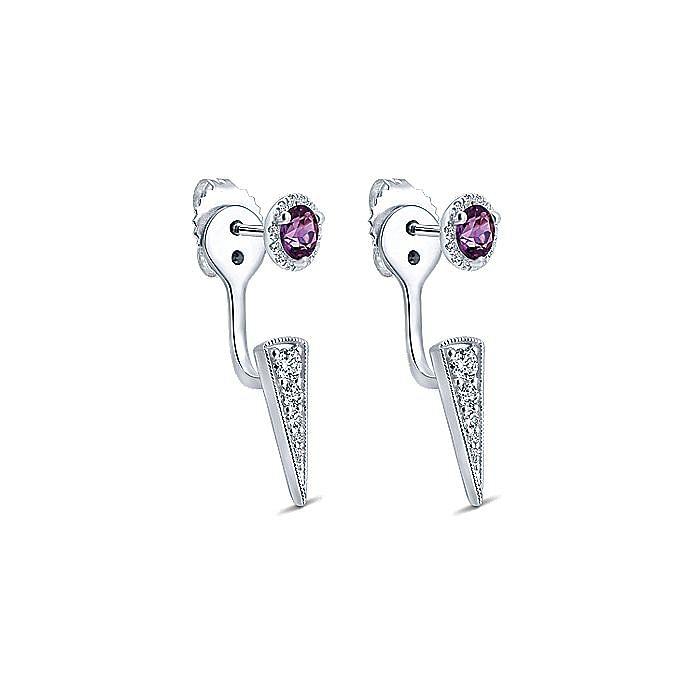 14K White Gold Peek A Boo Amethyst and Diamond Spike Earrings