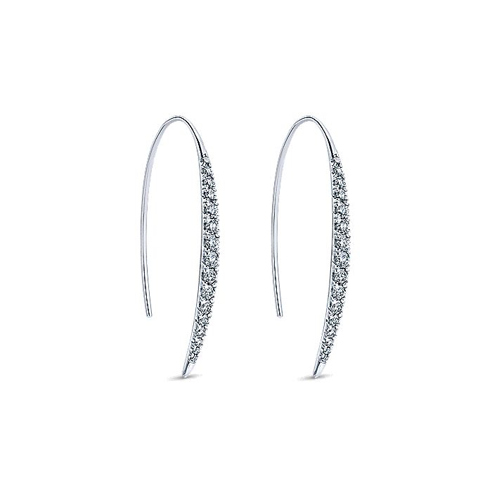 14K White Gold Peek A Boo Cascade Diamond Earrings