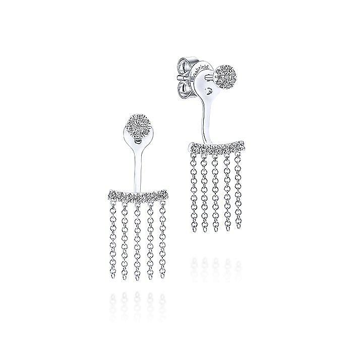14K White Gold Peek A Boo Chain Fringe Diamond Earrings