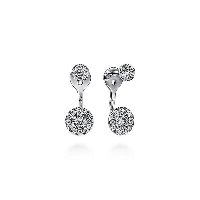 14K White Gold Peek A Boo Circle Diamond Earrings