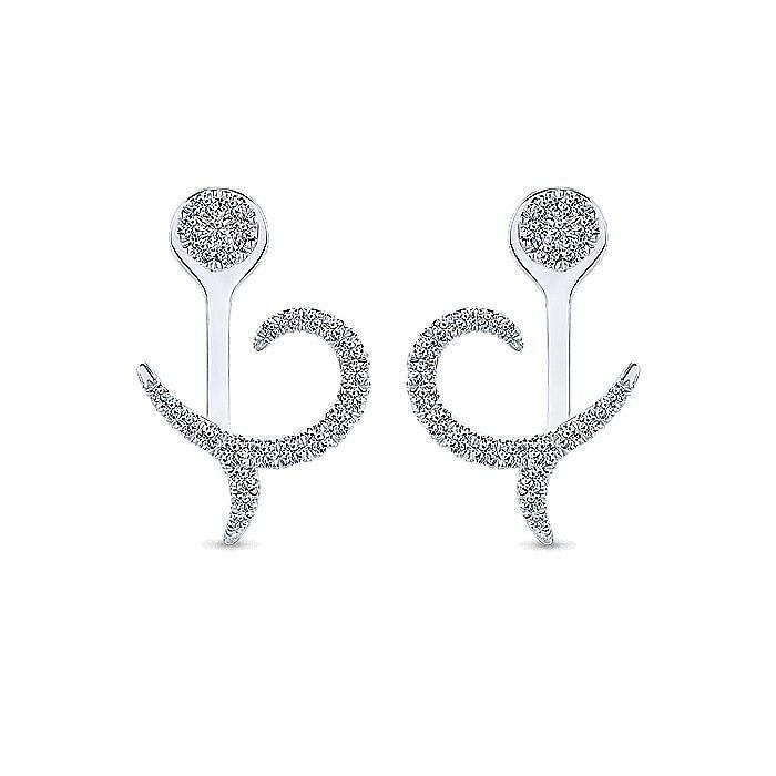14K White Gold Peek A Boo Diamond Flourish Earrings