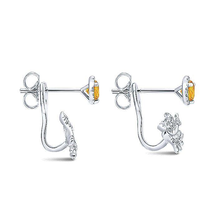 14K White Gold Peek a Boo Citrine and Diamond Leaf Earrings