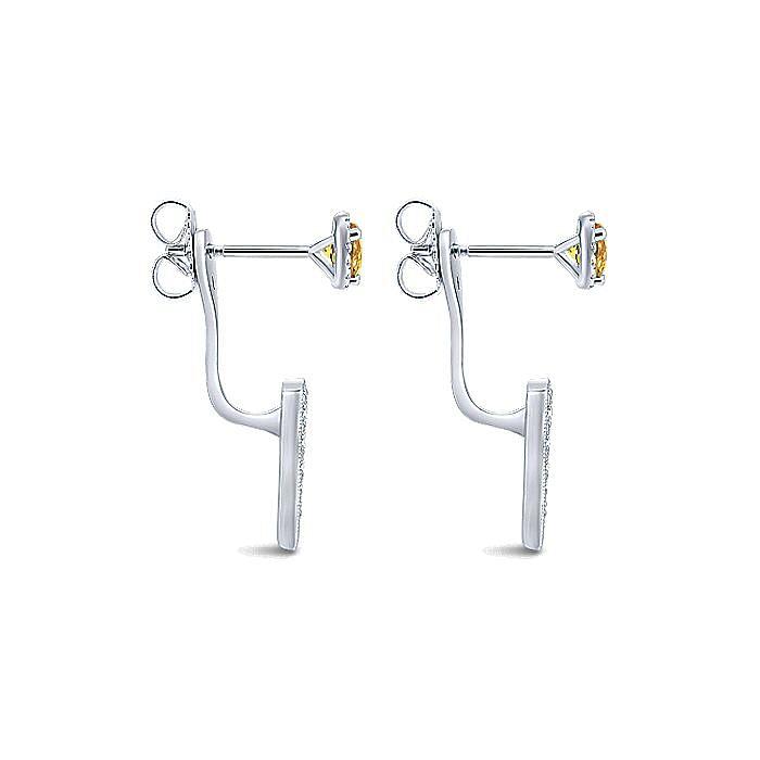 14K White Gold Peek a Boo Citrine and Diamond Spike Earrings