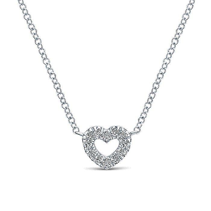 14K White Gold Petite Open Heart Diamond Pendant Necklace