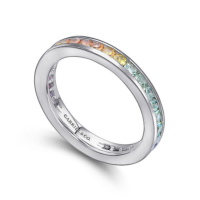 14K White Gold Pink, Green and White Sapphire Stackable Band