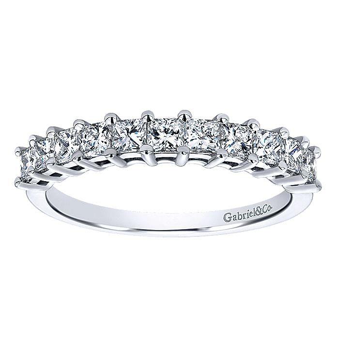 14K White Gold Princess Cut 11 Stone Prong Set Diamond Wedding Band