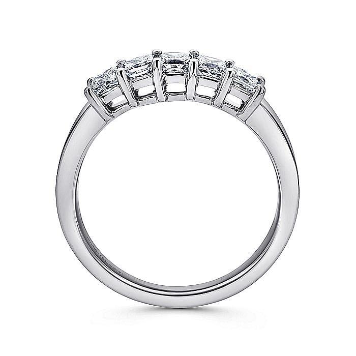 14K White Gold Princess Cut 5 Stone Prong Set Diamond Wedding Band