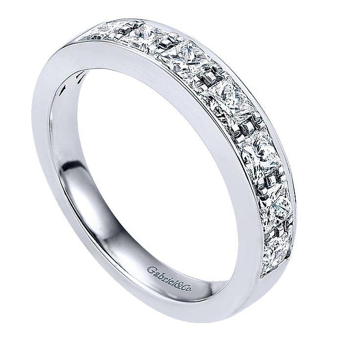 14K White Gold Princess Cut 7 Stone Prong Channel Set Diamond Wedding Band