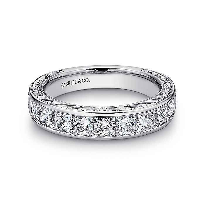 14K White Gold Princess Cut 9 Stone Channel Set Diamond Wedding Band with Engraving