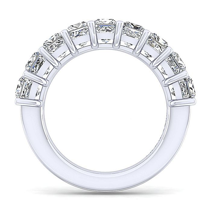 14K White Gold Princess Cut 9 Stone Shared Prong Diamond Anniversary Band