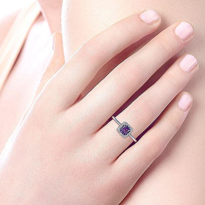 14K White Gold Princess Cut Amethyst and Diamond Halo Ladies Ring