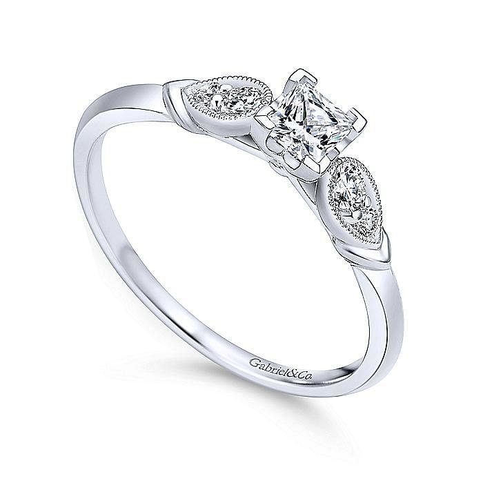 14K White Gold Princess Cut Complete Diamond Engagement Ring