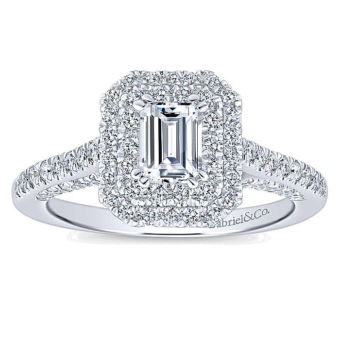 14K White Gold Princess Cut Complete Diamond Engagement Ring