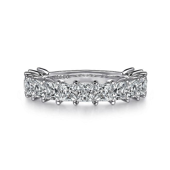 14K White Gold Princess Cut Diamond Anniversary Band