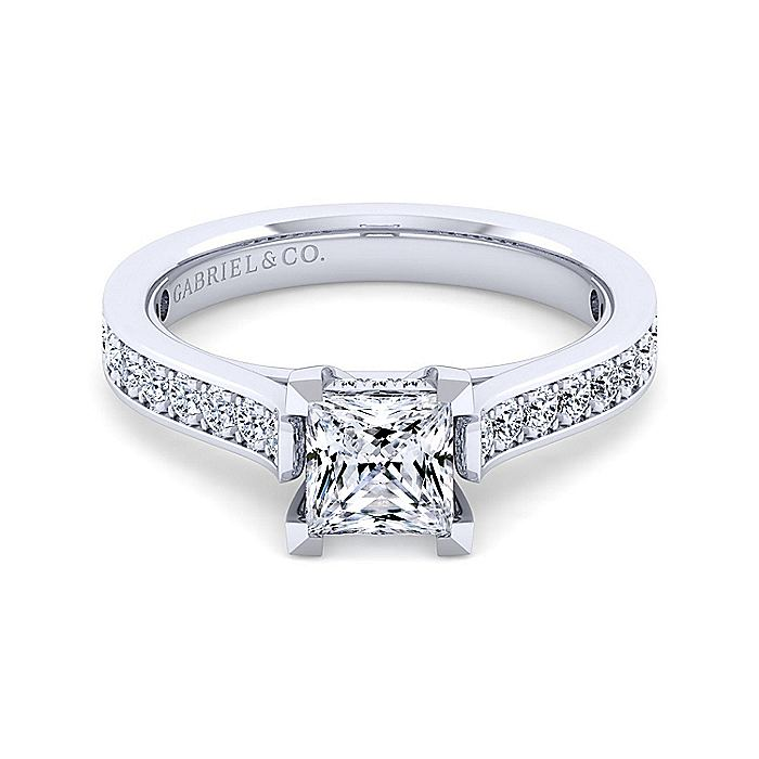 14K White Gold Princess Cut Diamond Engagement Ring