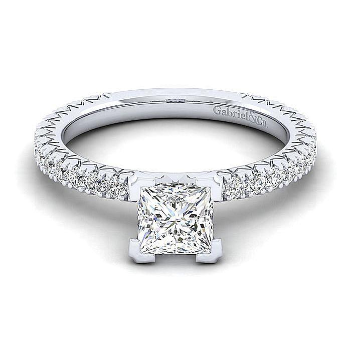 14K White Gold Princess Cut Diamond Engagement Ring