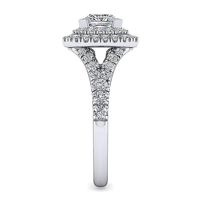14K White Gold Princess Cut Double Halo Diamond Engagement Ring
