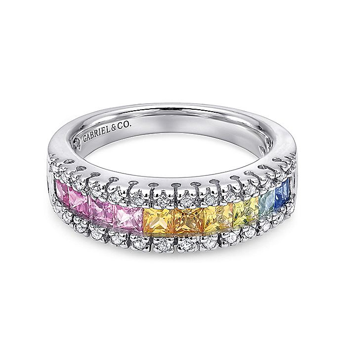 14K White Gold Princess Cut Multi Sapphire and Diamond Band