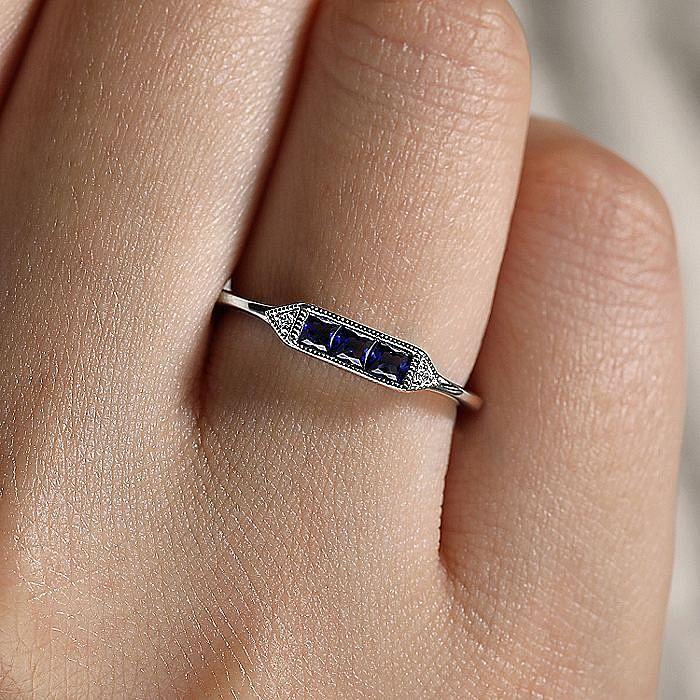 14K White Gold Princess Cut Sapphire Trio and Diamond Ring