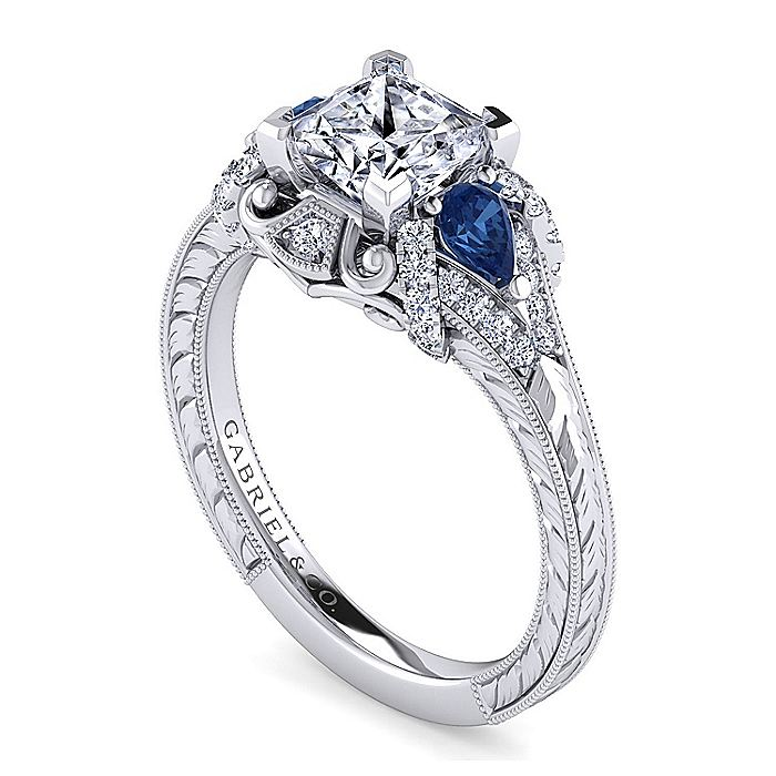 14K White Gold Princess Cut Sapphire and Diamond Engagement Ring