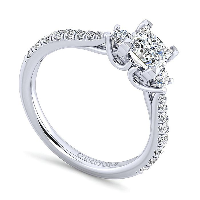 14K White Gold Princess Cut Three Stone Diamond Engagement Ring