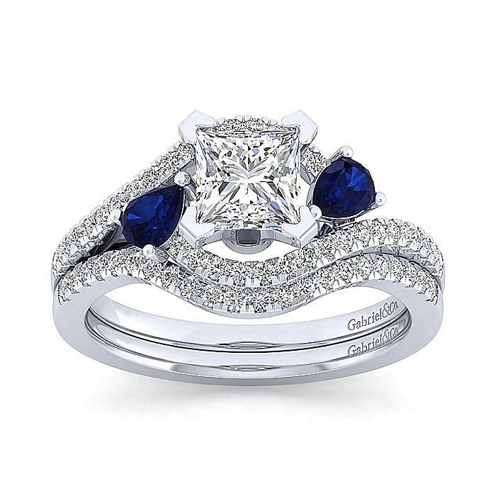 14K White Gold Princess Cut Three Stone Sapphire and Diamond Engagement Ring