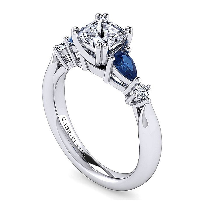 14K White Gold Princess Cut Three Stone Sapphire and Diamond Engagement Ring