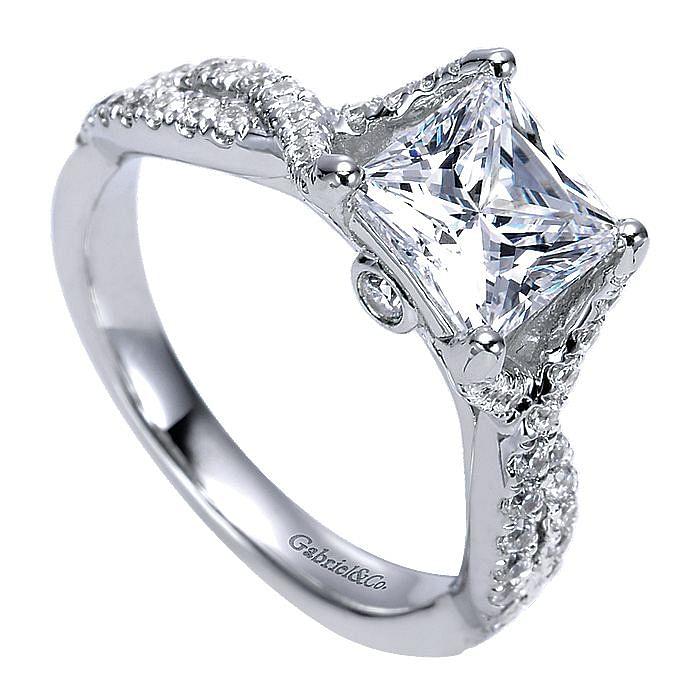 14K White Gold Princess Cut Twisted Diamond Engagement Ring