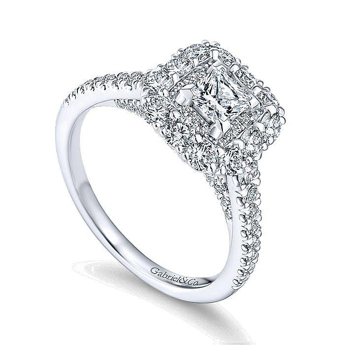 14K White Gold Princess Double Halo Diamond Engagement Ring