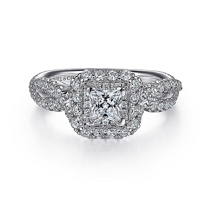 14K White Gold Princess Double Halo Diamond Engagement Ring