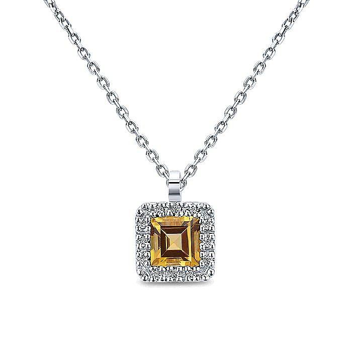 14K White Gold Princess Halo Citrine and Diamond Necklace