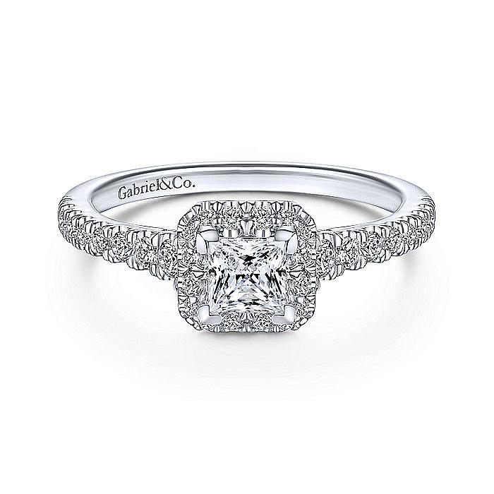 14K White Gold Princess Halo Complete Diamond Engagement Ring