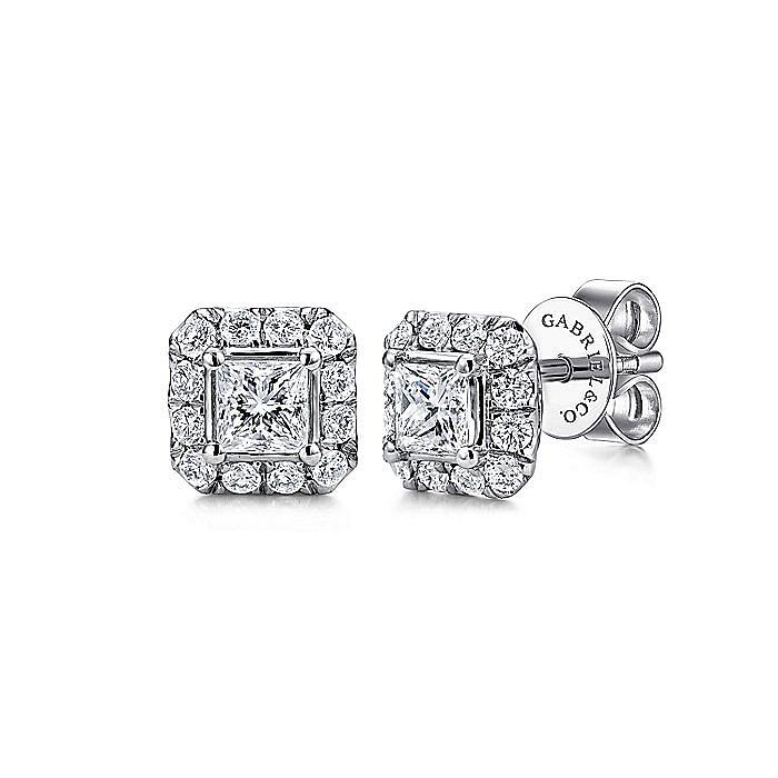 14K White Gold Princess Halo Diamond Stud Earrings