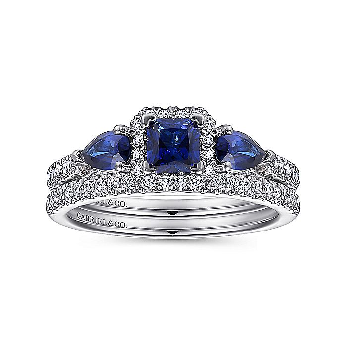 14K White Gold Princess Halo Sapphire and Diamond Engagement Ring