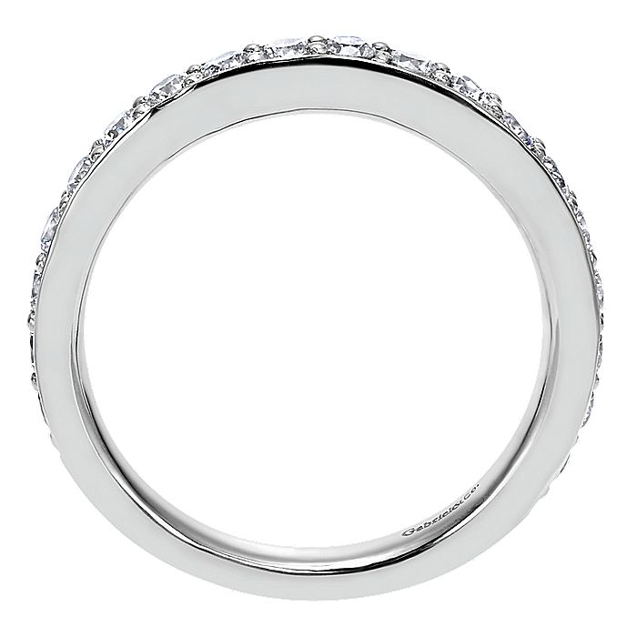 14K White Gold Prong Channel Set Diamond Wedding Band
