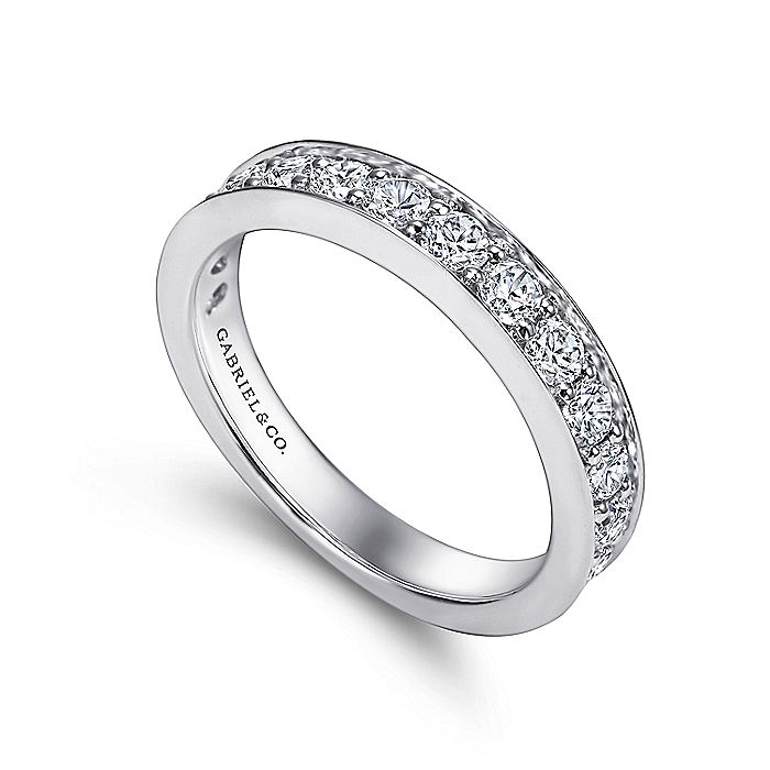 14K White Gold Prong Channel Set Diamond Wedding Band