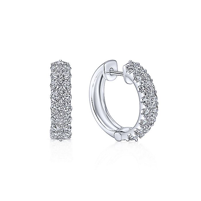 14K White Gold Prong Set  20mm Round Classic Diamond Hoop Earrings