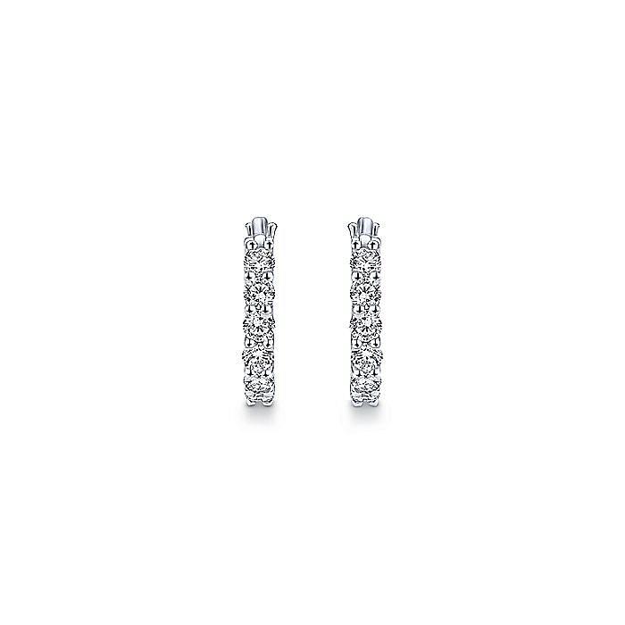 14K White Gold Prong Set 10mm Round Classic Diamond Hoop Earrings