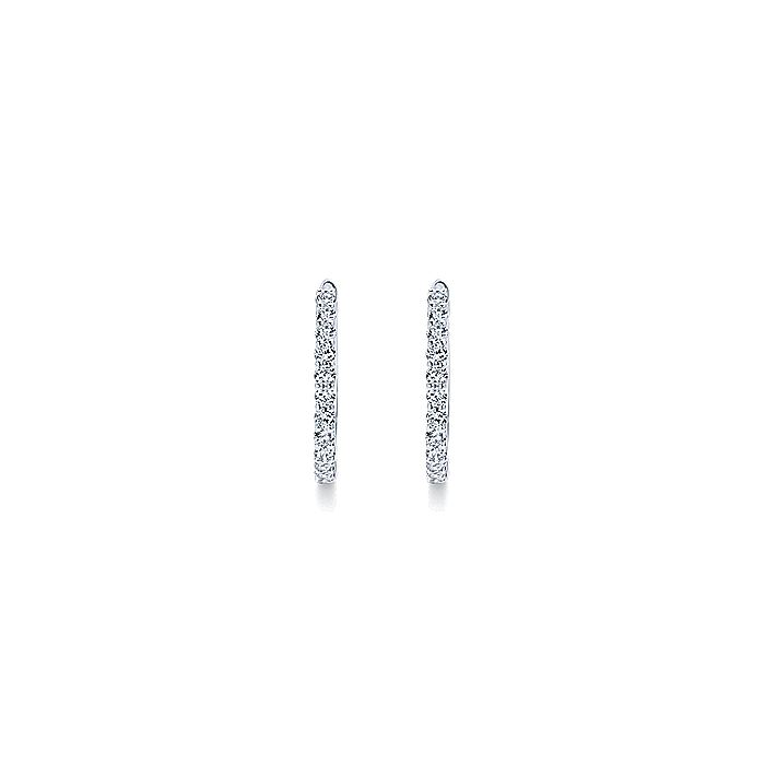 14K White Gold Prong Set 15mm Round Classic Diamond Hoop Earrings
