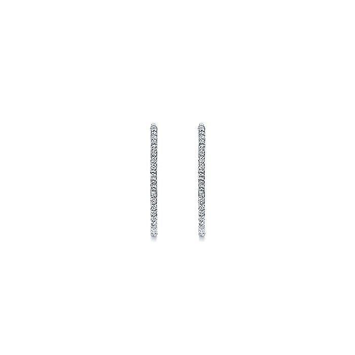 14K White Gold Prong Set 25mm Round Inside Out Diamond Hoop Earrings