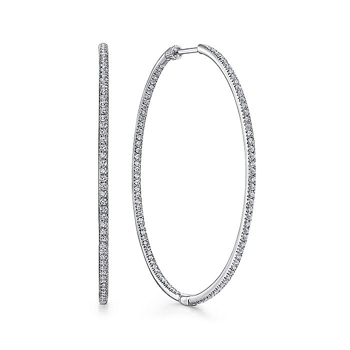 14K White Gold Prong Set 45mm Round Classic Diamond Hoop Earrings
