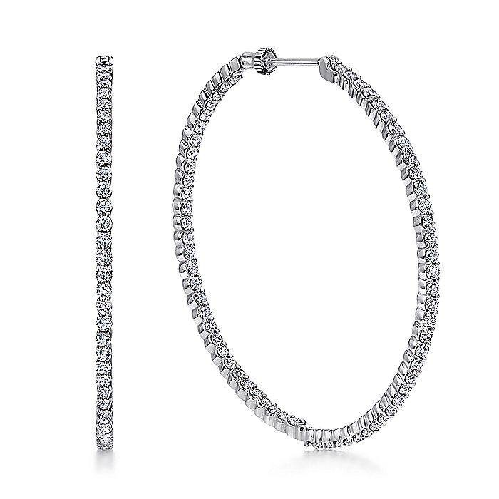 14K White Gold Prong Set 50mm Round Inside Out Diamond Hoop Earrings