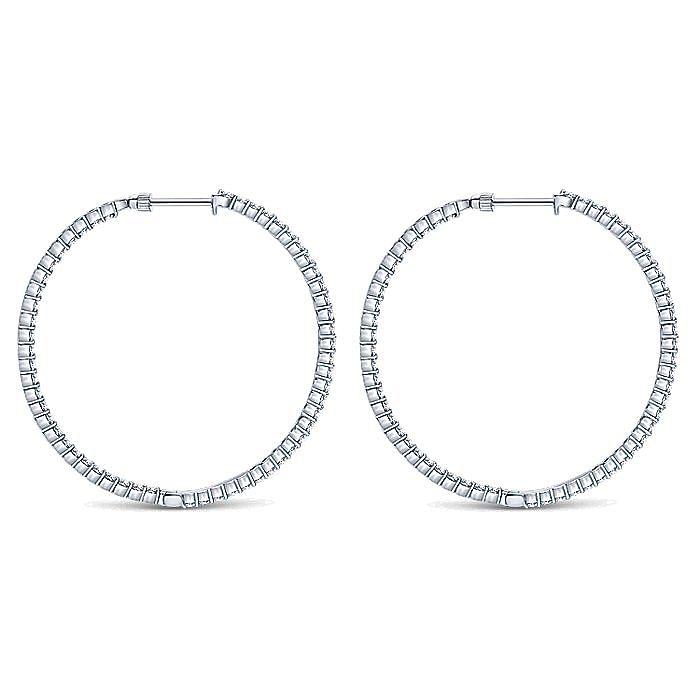 14K White Gold Prong Set 50mm Round Inside Out Diamond Hoop Earrings