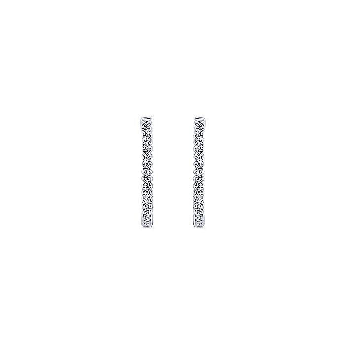 14K White Gold Prong Set Black Rhodiumed 25mm Round Inside Out Diamond Hoop Earrings