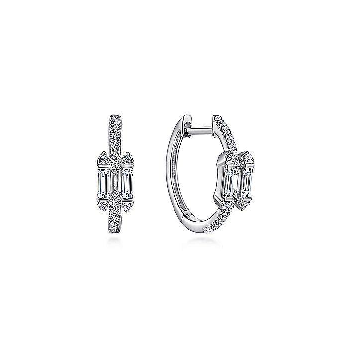 14K White Gold Prong Set and French Pavé 15mm Round Classic Diamond Hoop Earrings