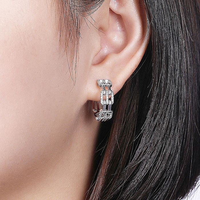 14K White Gold Prong Set and French Pave 15mm Round Classic Diamond Hoop Earrings