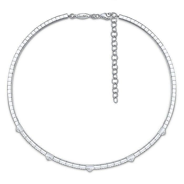 14K White Gold Pyramid and Diamond Choker Necklace