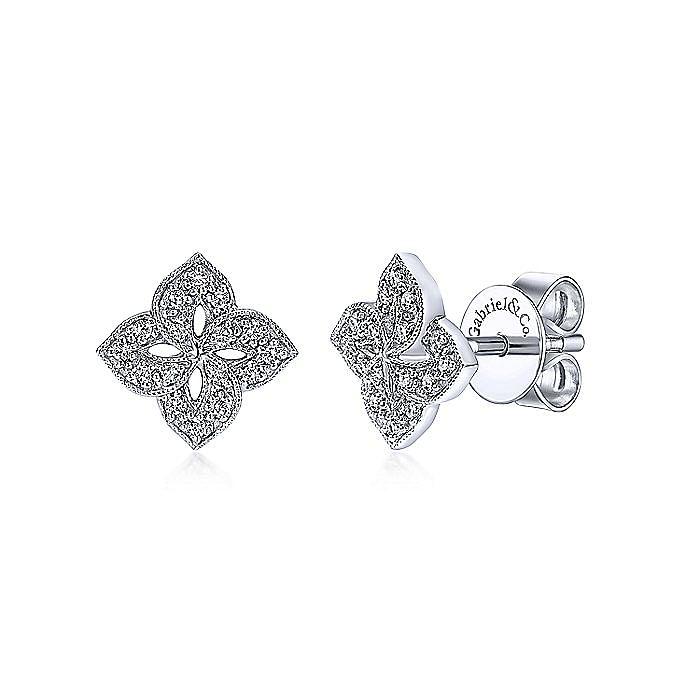 14K White Gold Quatrefoil Diamond Stud Earrings